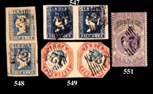used  1854 ½a. indigo Die II,
