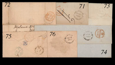 cover 1862 (14 June) envelope (light damp patch on face panel) to Hamilton showing a largely fine strike on face. Photo