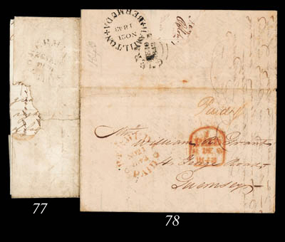 "cover 1843 (21 Nov.) entire letter to Guernsey, marked ""Paid 1/-"" and showing a largely fine strike in brownish red alongside London tombstone transit d.s., the reverse with a fine strike of the ""HAMILTON/BERMUDA"" PM4 c.d.s. in black just touched by arrival c.d.s. (small part cut away by seal removal) for 10 February. Photo"