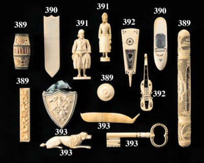 TWO VARIOUS IVORY INLAID NEEDL