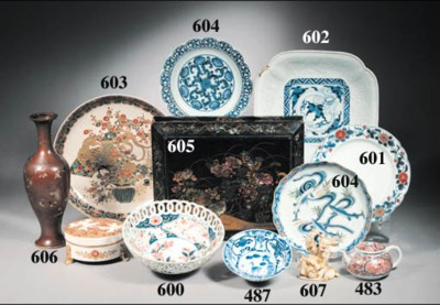 A set of blue and white miniat