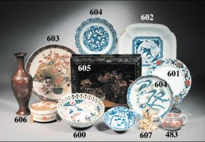 An imari bowl and an imari bea