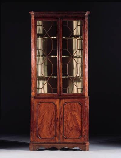 An English mahogany corner dis