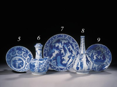 A late Ming blue and white bas