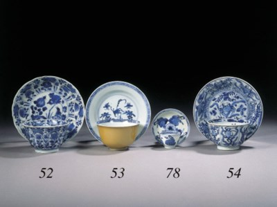 Two sets of blue and white cup