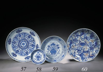 A blue and white small saucer