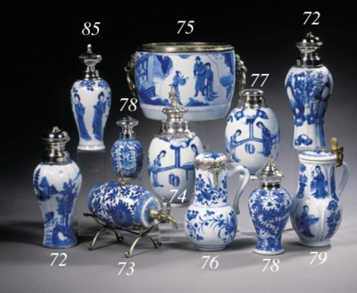 A blue and white silver-mounte