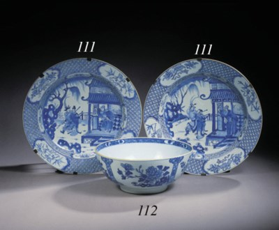 Five various blue and white bo