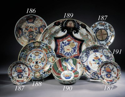 Two sets of Imari plates