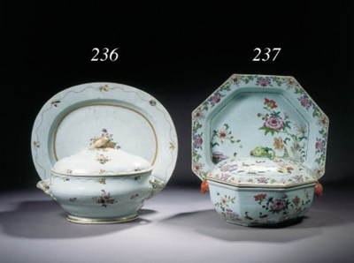 A famille rose oval tureen, co