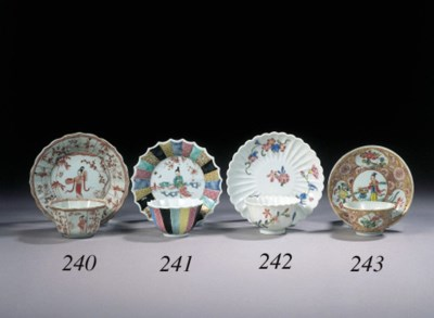 Two sets of famille rose cups