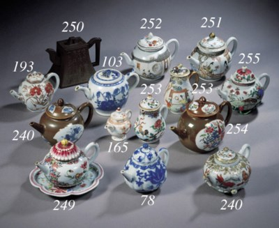 A famille rose teapot and a pa