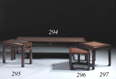 A hardwood rectangular bench,