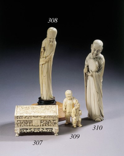 An ivory figure of a monk