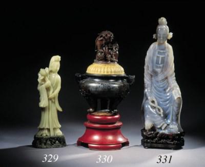 A soapstone tripod incense bur