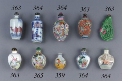 Two porcelain snuff bottles, a