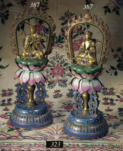 A pair of cloisonne and gilt-b
