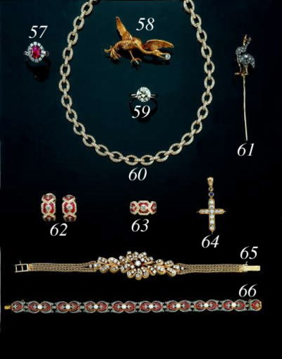 A WHITE-GOLD, DIAMOND AND RUBY