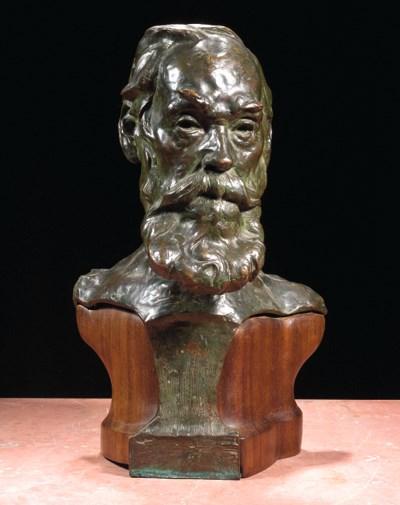 A bronze bust of a gentleman