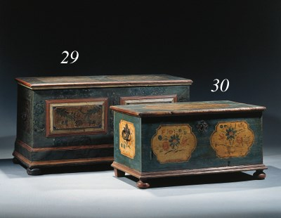 A German blue-painted chest