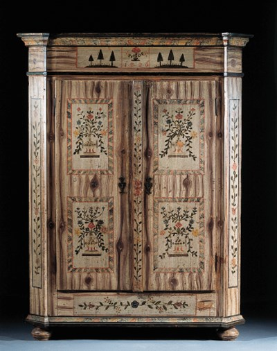 A German polychrome painted cu
