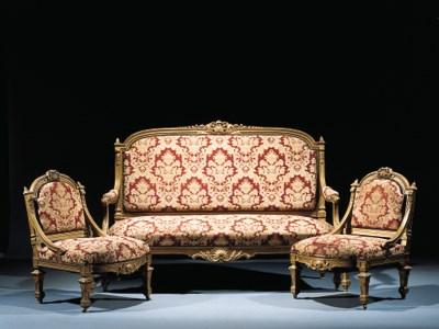 A suite of Napoleon III gilt w