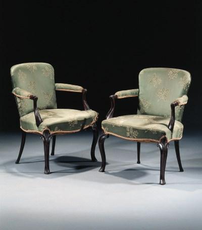 a pair of English mahogany ope
