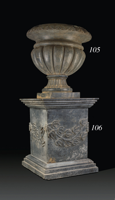 A grey marble pedestal