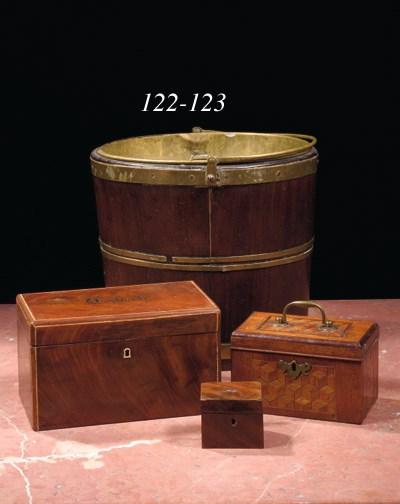 A brass-bound mahogany bucket