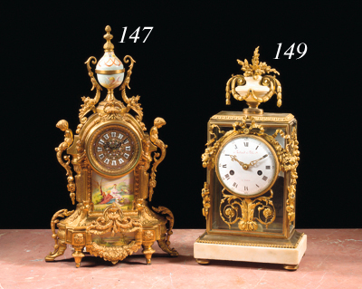 A French ormolu and white alab