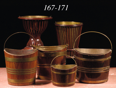 A brass-bound mahogany bucket