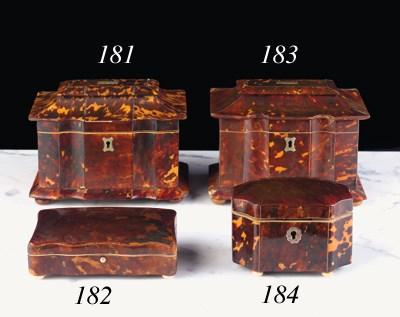 Four various tortoiseshell box