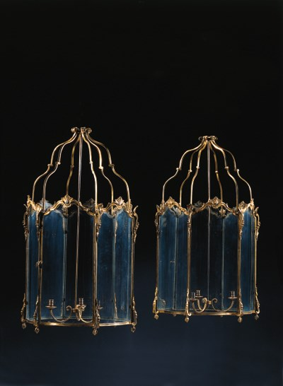 A pair of ormolu hall lanterns