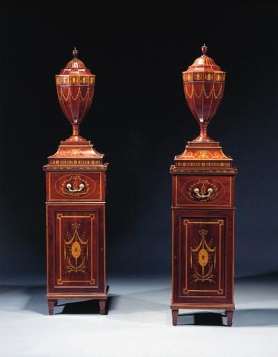 A pair of English mahogany and
