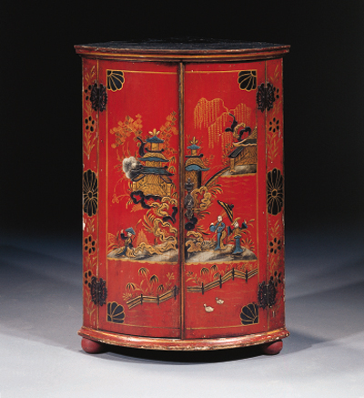 A parcel-gilt red-lacquered ha