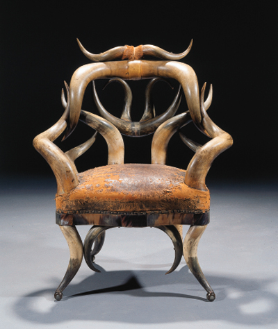 An American long horn armchair