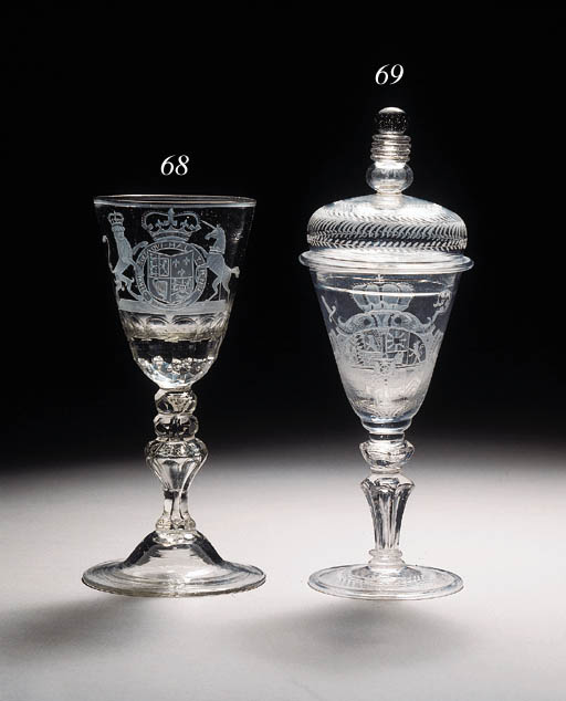 A Thuringen-engraved armorial goblet and a cover