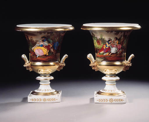 A pair of Frederic Faber Brussels two-handled vases