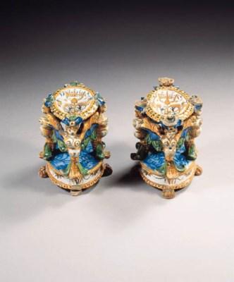A pair of Urbino maiolica armo