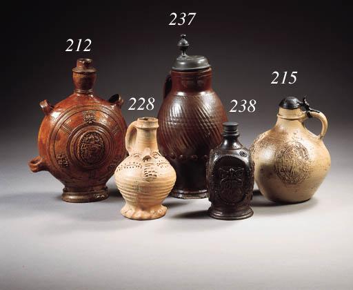 A Siegburg stoneware mythological pewtermounted pulle