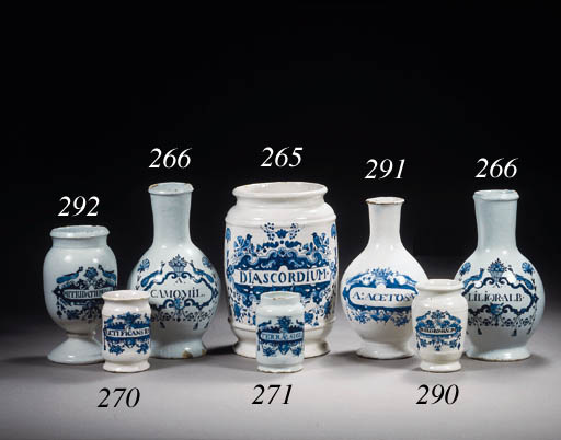A small Dutch Delft blue and white albarello