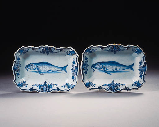A pair of Dutch Delft blue and white rectangular herring dishes