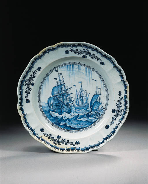 A Dutch Delft blue and white maritime dish