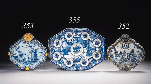 A Dutch Delft blue and white rectangular chinoiserie spice boxes tray