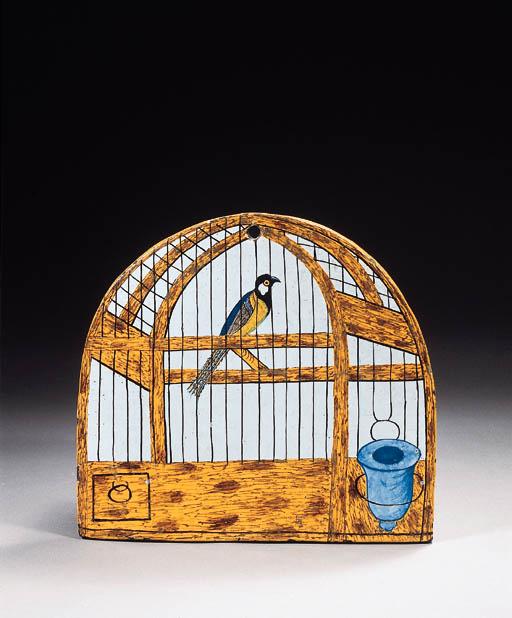 A Dutch Delft birdcage plaque