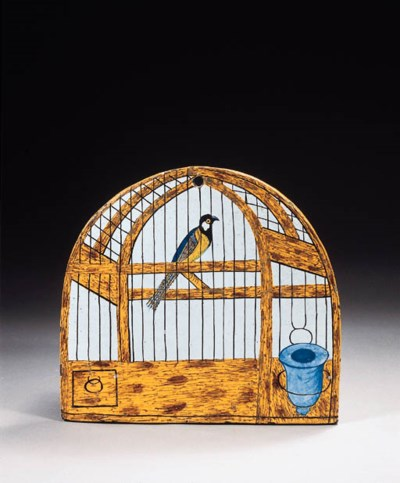 A Dutch Delft birdcage plaque