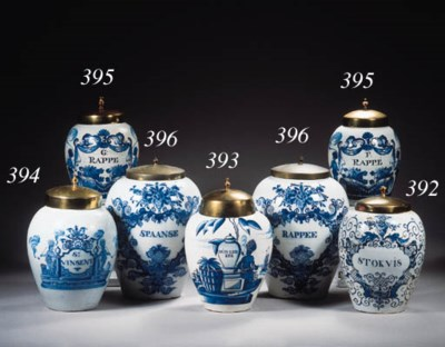 Three Dutch Delft blue and whi