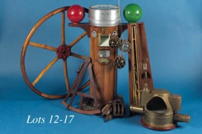 A brass binnacle compass