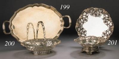 An oval English silver cake ba