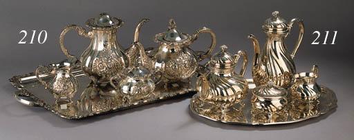 A five-piece German silver tea